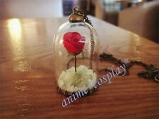 NEW Night-luminous BEAUTY and the BEAST enchanted ROSE glass BELLE punk