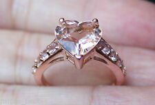 New 10K S6 2.75ct Natural Heart Pink Morganite & Pink Sapphire Love Ring Rose