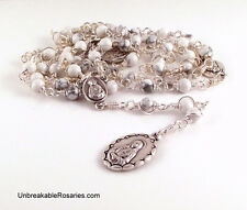 Seven Sorrows of Mary Rosary Beads In White Magnesite by Unbreakable Rosaries