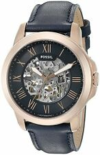NWT Fossil Grant Navy Blue Skeleton Dial Automatic Men's Watch ME3102 $195