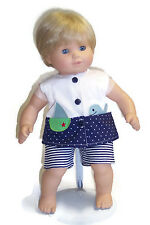 """Sailboat Shirt Top & Striped Shorts made for 15"""" Bitty Baby & Twin Doll Clothes"""