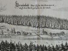 MERIAN - orig. Kupferstich 1654: BRAUNLAGE im Harz / Braunlah Eisen Hüttenwerk