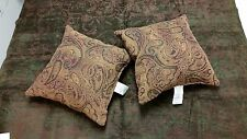 Green and Cafe Chenille Tapestry Throw and Handmade Set of Paisley Pillows