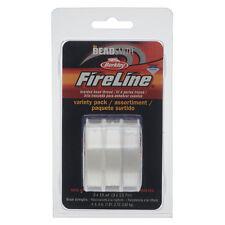 FireLine Braided Beading Thread 4-6-8lb Test Weights Three 15 Yd Spl Crystal Clr