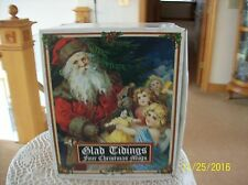 """Dunoon Vintage Post Card Style Four Christmas Mugs """"Glad Tiding's"""" New In Box"""