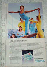 1975 print ad - Tampax girl gymnasts in leotards tights pantyhose FRENCH Advert