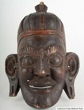 Tibet 19. JH. máscara-Tibetan Wood Mask carved & painted Wood-Masque tibétain
