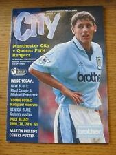 03/02/1996 Manchester City v Queens Park Rangers  (Team Changes). Item In very g