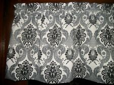 Black Gray Damask Brocade Paisley Mid-Century waverly fabric curtain Valance