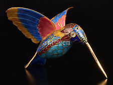 CLOISONNE CRAFT VIVID COLOR HUMMINGBIRD STATUE FIGURINE PENDANTS ORNAMENT GIFT V