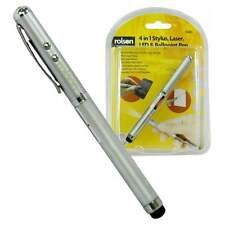 Rolson 4 In 1 Laser Pointer Capacitive Stylus LED Torch & Ballpoint Pen BNIB