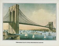 "1978 Vintage ""BROOKLYN BRIDGE 1881 NEW YORK"" CURRIER & IVES COLOR Art Lithograph"