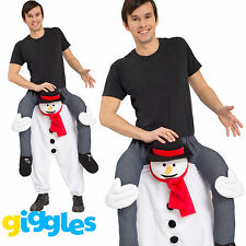 Snowman Piggy Back Ride On Me Mascot Mens Fancy Dress Christmas Carry Costume