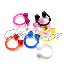 8pcs 14G Multicolor Arcylic Horseshoe Barbell Labret Nose Lip Eyebrow Ring