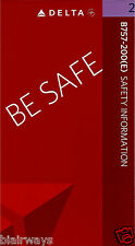 DELTA AIRLINES BOEING 757-200 (E) SAFETY CARD 2009 BE SAFE