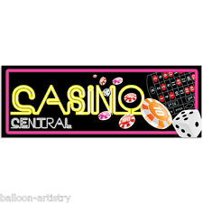 56cm Neon CASINO CENTRAL Party Night PVC Sign Banner Decoration