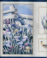 Country Birds, Flowers with Blue Trim WALLPAPER BORDER
