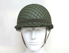Military WWII US Army M1 Double-deck Green Helmet W Net &Cat Eyes Replica