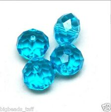 5pcs big flat round sparkling aqua crystal beads 14x11mm
