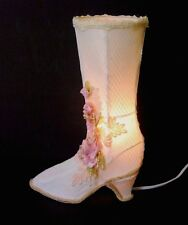 """Victorian Boot Ivory White Lace Beads & Pink Roses 14 1/2"""" Tall Room Table Lamp"""