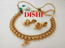 South Indian DISHI Fashion Necklace Earing Bollywood Ethnic Gold Plated Set