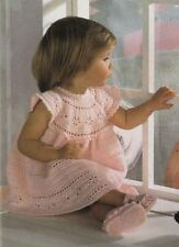 Baby or Girls Stunning Princess Occasion Dress & Shoes Vintage Crochet Pattern