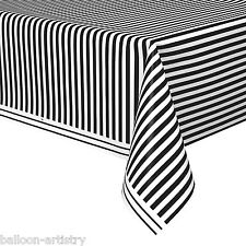 "54""x108"" BLACK White Stripes Style Party Disposable Plastic Table Cover"