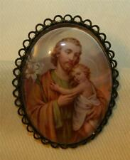 Handsome Picot Rimmed Brasstone Saint Joseph Glass Cameo Religious Brooch Pin