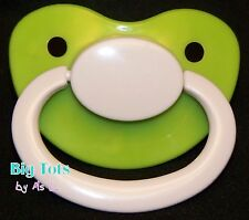 Adult Baby *NEW* Large silicone pacifier/dummy/ (NUK 6 ?) lime//wht Big Tots