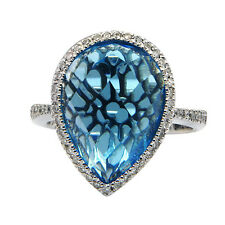 14K WHITE GOLD PAVE DIAMOND BLUE TOPAZ PEAR COCKTAIL ENGAGEMENT HALO RING