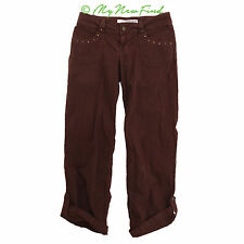 GUESS JEANS VINTAGE CARGO STRETCH DENIM ROLL CUFF PANTS MAROON SIZE 29 B72