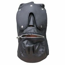Open Mouth Faux Leather Gimp Full Face Mask Hood Zip Blindfold  Restraint Set