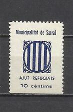 8146-SELLO ESPAÑA GUERRA CIVIL MNH ** REPUBLICANO SARRAL TARRAGONA 1936.AYUDA A