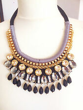 Bib Bubble Blue Crystal Gold Chain Fashion Anthropologie style Necklace