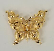 Crown Trifari Brooch Gold Tone Butterfly Ornate Victorian Swirl Vintage Signed