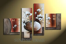 Handmade Floral Oil Painting On Canvas Plant Vase Art wall decor NO Frame