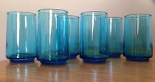 Set of 6 Blue Drinking Glasses Juice Tumbler Milk Cup Vintage Look