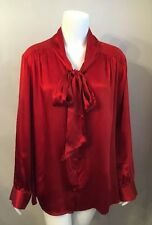 NWT Talbots Woman Orange Silk Tie Neck Blouse Shirt L/S Size 24W