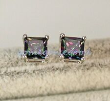 18K White Gold Filled - MYSTICAL Rainbow Square Topaz Cocktail Women Earrings 01