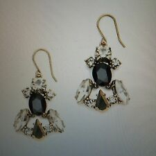 "NWT J Crew 1 3/4"" Crystal & Stone Row Earrings Gold #07306 Czech Glass"