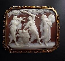 Fine Large Antique Shell Cameo Brooch Bacchanalian Procession in 14k Gold