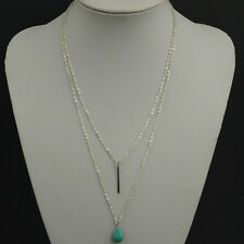 Fashion Double Chain Bar and Turquoise Ball Long Pendant Necklace Tiny Jewelry