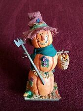 Fall/Autumn Harvest Pumpkin With Basket&Rake on Wood Stand Home Decoration GUC!