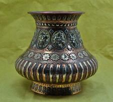 antique South India Tanjore Kutch Copper & Silver Lota 19 c signed on base