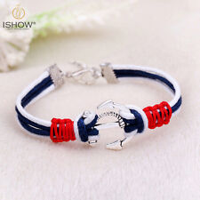 Women Men Multilayer Leather Handmade Wristband Charm Silver Anchor Bracelet