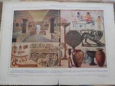 antica stampa da incorniciare ETRUSCA ARTE TOMBA ORECCHINI ANELLO COLLANA MONETA