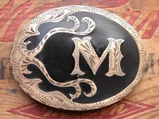 Vintage Silver Star Letter M Inlay Handcrafted in USA Western Belt Buckle
