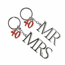 40th Ruby Wedding Anniversary Silver Plated Mr & Mrs Keyrings Gift Boxed Ideas