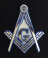 Masonic Car Auto Emblem - Molded Plastic Cut Out (Blue & Gold)