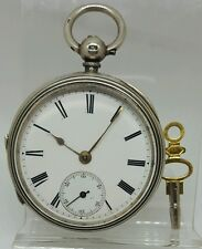 Nice solid silver gents London fusee pocket watch 1880 ticks